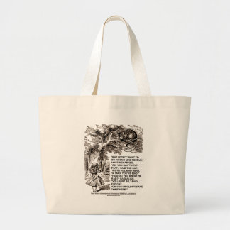 Wonderland Alice Go Among Mad People Quote Large Tote Bag