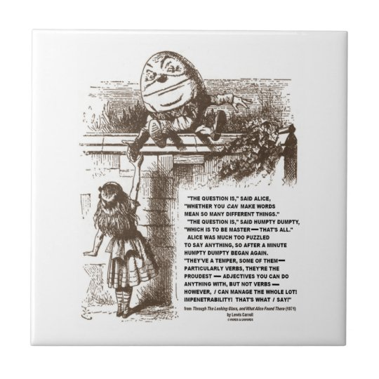Wonderland Alice Humpty Dumpty Conversation Quote Tile