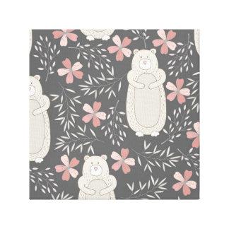 Wonderland Bears & Flowers Pattern Gallery Wrap Canvas