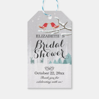 Wonderland Birds Deer Winter Wedding Bridal Shower Gift Tags