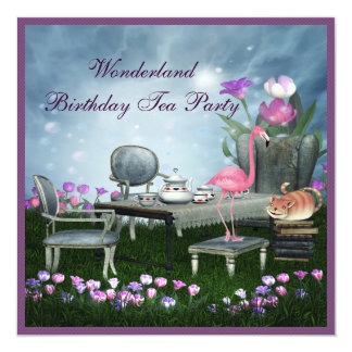 Wonderland Birthday Tea Party 13 Cm X 13 Cm Square Invitation Card