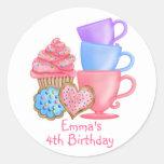 Wonderland  Birthday Tea Party Round Stickers