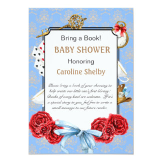 Wonderland Bring a Book Baby Shower Card