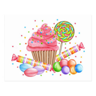 Wonderland Cupcake Candy Lollipop Sweet Tarts Postcard
