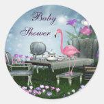 Wonderland Flamingo Baby Shower Stickers