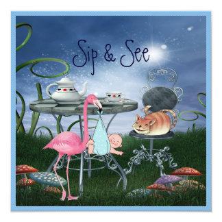 Wonderland Flamingo Sip & See Boy Baby Shower 13 Cm X 13 Cm Square Invitation Card