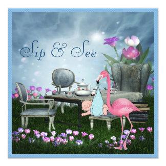 Wonderland Flamingo Sip & See Boy Baby Shower Invite