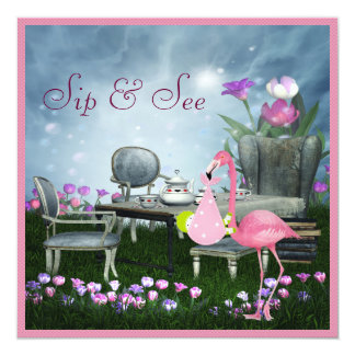 Wonderland Flamingo Sip & See Girl Baby Shower 13 Cm X 13 Cm Square Invitation Card