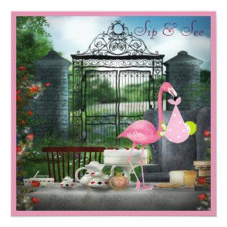 Wonderland Flamingo Sip & See Girl Baby Shower Card