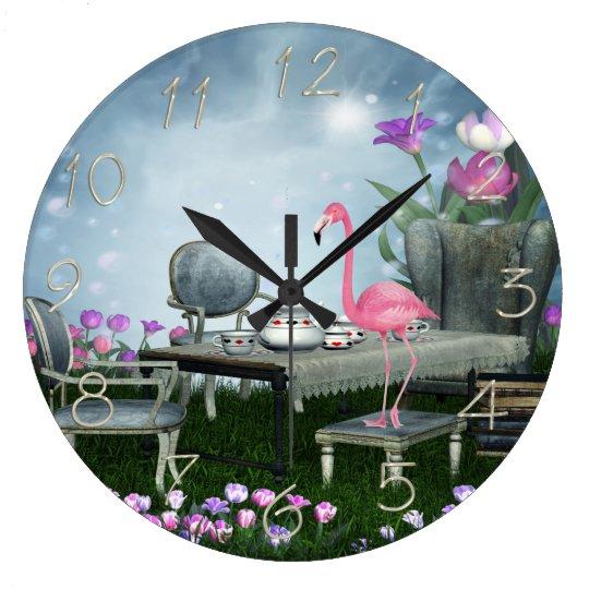 Wonderland Flamingo Tea Party Large Clock
