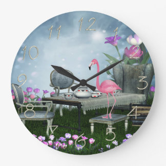 Wonderland Flamingo Tea Party Wall Clock