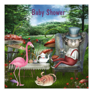 Wonderland Mad Hatter Tea Party Baby Shower 13 Cm X 13 Cm Square Invitation Card