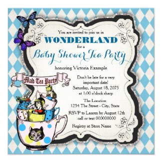 Wonderland Mad Hatter Tea Party Baby Shower 13 Cm X 13 Cm Square Invitation Card