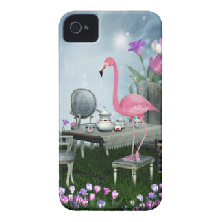 Wonderland Pink Flamingo Tea Party iPhone 4 Case