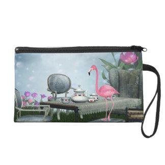 Wonderland Pink Flamingo Tea Party Wristlet Purses