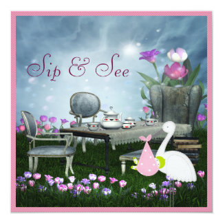 Wonderland Sip & See Baby Shower 13 Cm X 13 Cm Square Invitation Card
