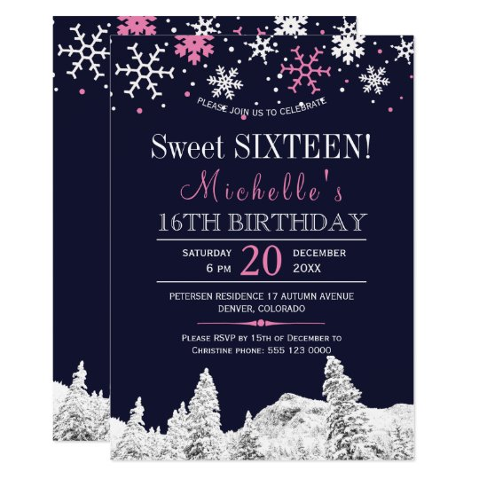 Wonderland snowflakes pink winter sweet sixteen card