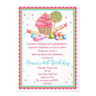 Wonderland Sweet Shop Cupcake Candy invitation