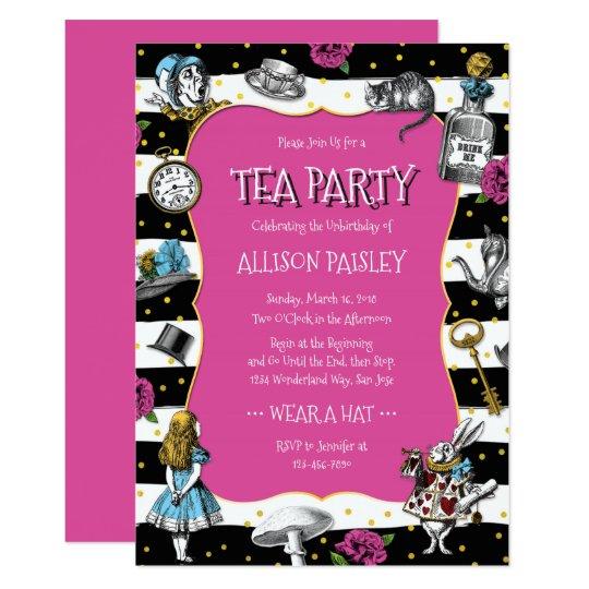 Wonderland Tea Party Hot Pink Card