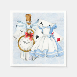 Wonderland Tea Party in Blue Paper Napkin