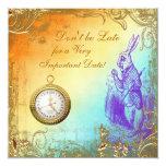 Wonderland White Rabbit Baby Shower Tea Party 13 Cm X 13 Cm Square Invitation Card