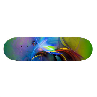 Wonderment - colorful digital abstract art skateboard
