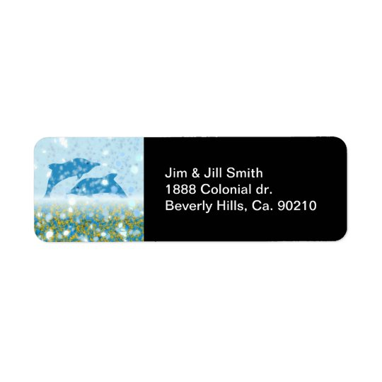 Wonderous Dolphins In The Sparkling Mystical Sea Return Address Label