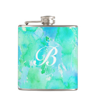 Wondrous Watercolors Aqua Hip Flask