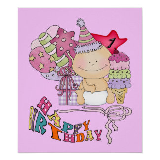 Wonky Happy Birthday Girl 1 Year Old Poster