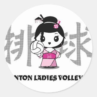 Wonton Ladies Volleyball Classic Round Sticker