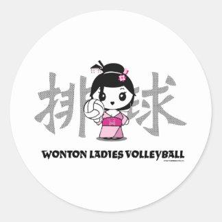 Wonton Ladies Volleyball Round Sticker