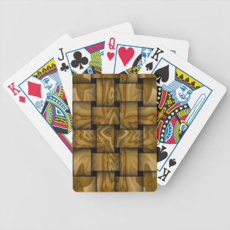 Wood abstract weave pattern bicycle playing cards