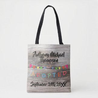Wood Adopted Banners Design Custom Name-Date Tote Bag