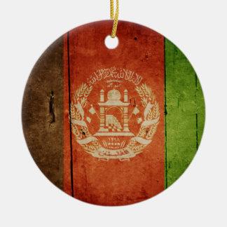 Wood Afghanistan Flag; Afghan Christmas Ornament