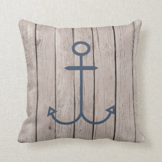 Wood and Anchor Throw Pillow