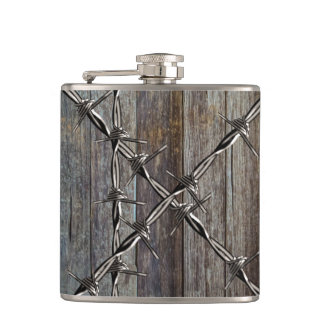 Wood and Barbed Wire Cowboy Hip Flask