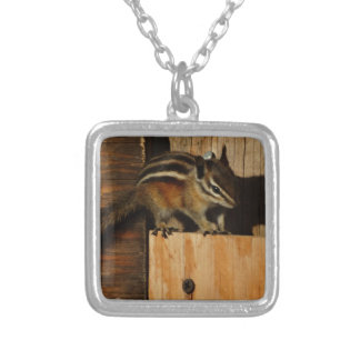 wood and chipmunk necklace
