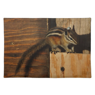 wood and chipmunk cloth place mat