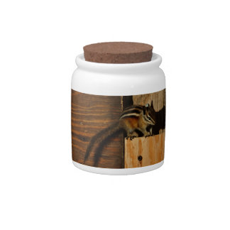 wood and chipmunk candy jars