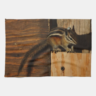wood and chipmunk hand towel