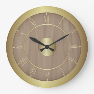 Wood and gold large clock