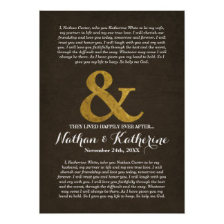 Wood and Gold Wedding Vows Happily Ever After Poster