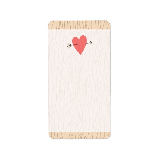 Wood and heart with arrow cute blank label