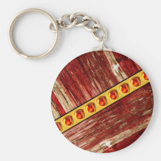 Wood and jewels basic round button key ring