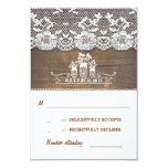 wood and lace mason jars rustic wedding RSVP cards Personalized Announcements