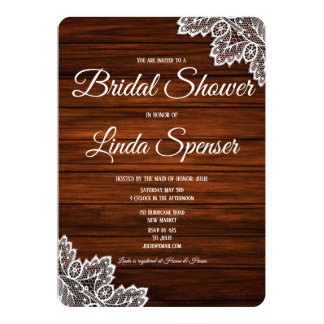 Wood and Lace Rustic Bridal Shower  Invitation