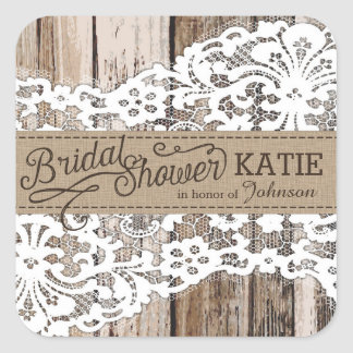Wood and Lace Rustic Bridal Shower Label Square Sticker