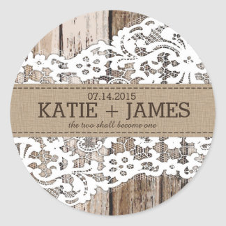 Wood and Lace Rustic Country Wedding Label