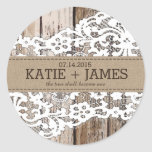 Wood and Lace Rustic Country Wedding Label Round Sticker
