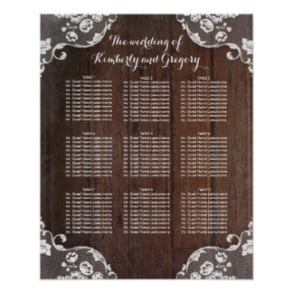 Wood and Lace Rustic Wedding Seating Chart